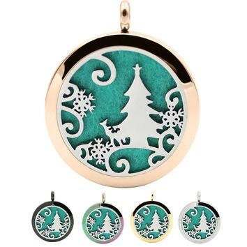 Stainless Christmas Locket Necklace Aromatherapy Fragrance Essential Diffuser Pendant 1pcs Aromatherapy Pendant  Jewelry #30