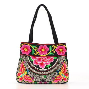 Women mini handle bag woman clutch canvas embroidered butterfly handbags