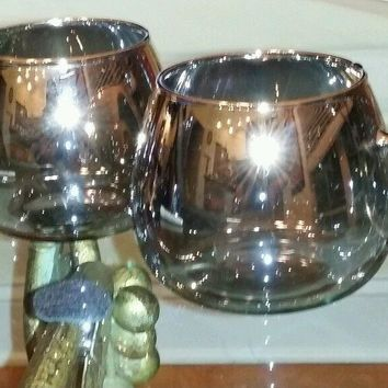 2 Silver Rimmed Punch Bowl Style Glasses, Mugs