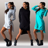 Women Fashion Long Sleeve Hoodies Hooded Dress Pullover Sweatshirt Coat = 5709316481