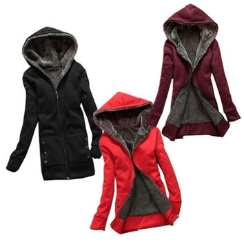 Fashion Casual Women's Ladies Warmer Zip Hoodie Coat Outerwear Jacket Thicken  3278