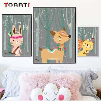 Forest Cartoon Cute Animals Posters & Prints Nordic Fox Dog Rabbit Canvas Painting Nursery Kids Room Home Deco Wall Art Pictures