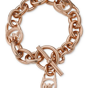 Michael Kors Bracelet, Rose Gold-Tone Logo Lock Toggle Bracelet - Fashion Jewelry - Jewelry & Watches - Macy's