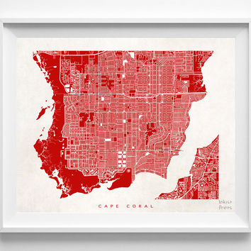 Florida, Cape Coral, Print, Map, FL, Poster, State, City, Street Map, Dorm, Art, Decor, Town, Illustration, Room, Wall Art, Customize
