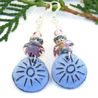 Blue Sun Handmade Boho Earrings, Rustic Artisan Ceramic Lampwork Crystal Beaded Jewelry
