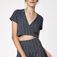 Lisakai Stripe Tie Front Cropped Top at PacSun.com