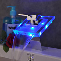 3 Color Changing LED Waterfall Bathroom Sink Basin Vessel Faucets Mixer Taps