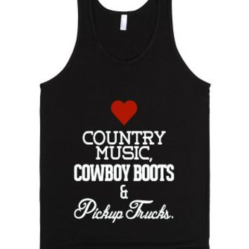 Love Country Music, Cowboy Boots, Pickup Trucks-Unisex Black Tank