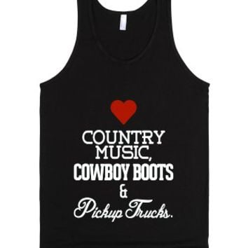 Heart Country music, cowboy boots, pickup trucks-Unisex Black Tank