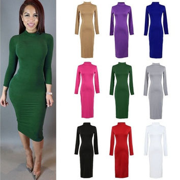 New Fashion Women Sexy Dress Long Sleeve Warm Midi Dress Bandage Bodycon Party Clubwear [9222648516]