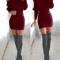 Red Off Shoulder Sweater Dress