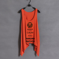 Keep Calm and Hakuna Matata - Women Tank Top - Orange - Sides Drop