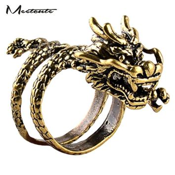 Meetcute Steampunk Fashion Antique Copper Alloy Dragon Shape Opening Rings for Male Cool Gothic Animal Jewelry