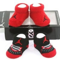 Nike Air Jordan Newborn Infant Baby Booties Socks Black and Red w/Air Jordan Logo Size 0-6 Months