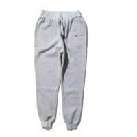 Tide brand new CHAMPION English embroidery small standard simple elastic movement beam feet trousers long pants male Gray