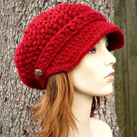 Hand Crocheted Hat Womens Hat - The Slouchy Newsboy Cap in Cranberry Red - READY TO SHIP - Fall Fashion Autumn Accessories
