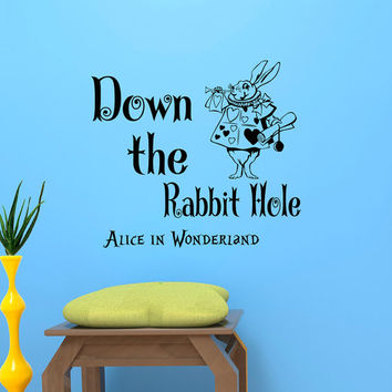 Alice In Wonderland Wall Decal Quote Down The Rabbit Hole Wall Decals Quotes Sayings White Rabbit Nursery Kids Bedroom Wall Decor Home Q279