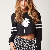 Black Printed Long Sleeve Crop Sweatshirt
