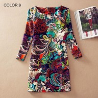 Spring Fall Fashion Flower Print Long Sleeve Casual Autumn Dresses