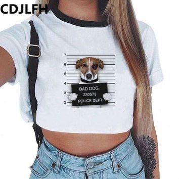 PEAPUNT 2017 Summer Fashion Women Crop Top Dog Wolf Print T-Shirt White