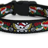 Tatoo Dog Collar with Skulls and Roses, Black or Pink Dog Collar, 1 Inch - Long Live Our Love