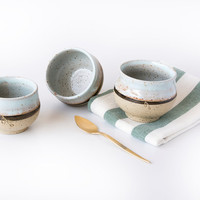 Ceramic Espresso Cup / Set of 3 Mini Dishes / Pottery Chai Cups