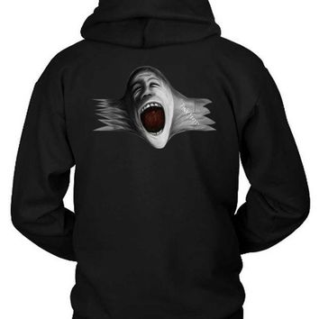 CREYH9S Pink Floyd Scream Face Blow Up Hoodie Two Sided