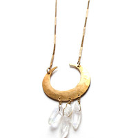 Opalescent Crescent Crystal Necklace