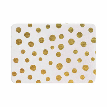 "Nika Martinez ""Golden Dots"" White Yellow Memory Foam Bath Mat"