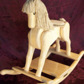 Rocking Horse Handmade Wooden-cypress wood