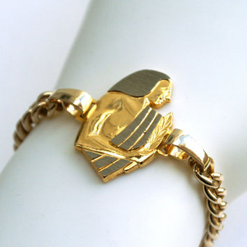 Virgo Egyptian Theme Bracelet Zodiac Sign Gold Tone Link Barrel Closure