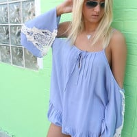 Montego Bay Open Shoulder Powder Blue Ruffled Hem Crochet Sleeve Top