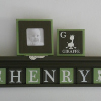 "Giraffe Baby Boy Nursery Custom Letters for HENRY - Giraffe 24"" Shelf / Sign 6 Plaques Light Green and Brown Safari Zoo Animals Jungle Decor"