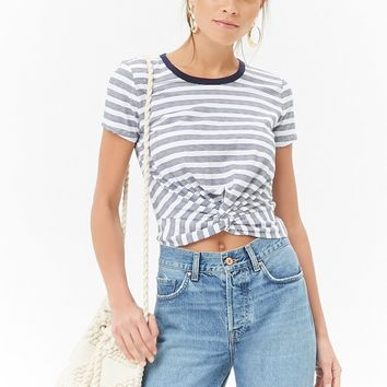 Striped Twist-Front Top