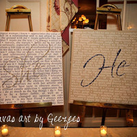 He/She Custom Canvas Vows Wedding Reception Art Work