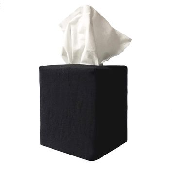 james tissue box cover in black