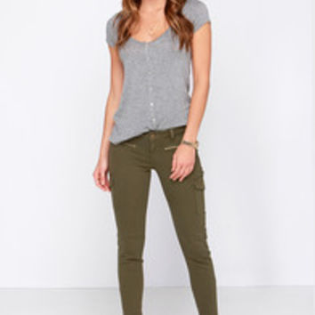 Car-Go the Distance Olive Green Cargo Skinny Jeans