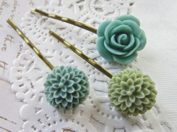 Vintage Flower Cameo Hair Pins -  Green  &Blue Cabochon Bobby Pins Clips