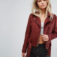 New Look Faux Suede Biker Jacket at asos.com