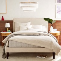 Low Upholstered Nailhead Bed - Natural