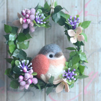 Bird doll flower wreath, bird doll home decor ornament, needle felted red grey bird wreath, handmade gift under 25