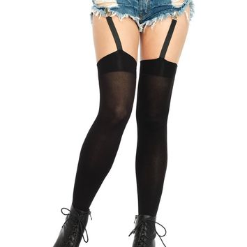 Opaque thigh highs with attached clip garter