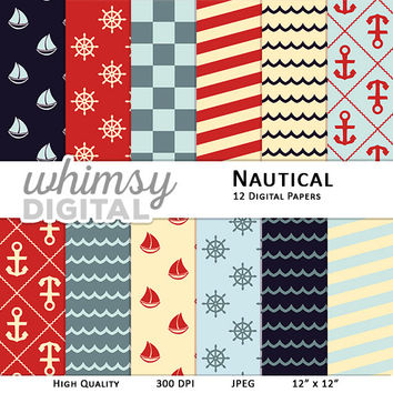 Nautical Digital Paper with Ships, Anchors, Wheels, Waves, Stripes, and Checkers in shades of Red, Teal, Navy, and Cream