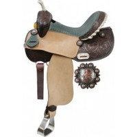 14 inch Barrel Saddle with Teal Alligator Print Seat and Floral Tooling