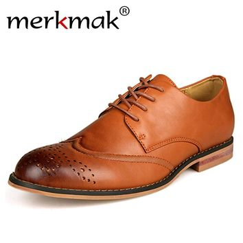 Merkmak Newly Oxford Shoes Men Flats Brogue