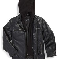 Boy's Black Rivet Faux Leather Jacket ,