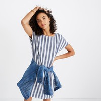 Stripe-Play Button-Back Tee Dress