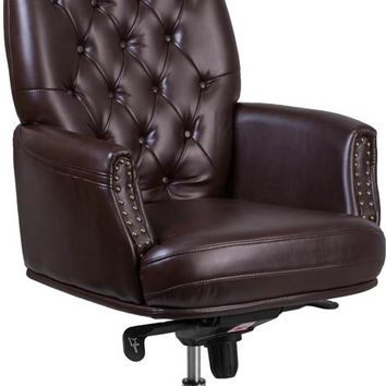 High Back Traditional Tufted Brown Leather Multifunction Executive Swivel Ergonomic Office Chair with Arms [BT-90269H-BN-GG]