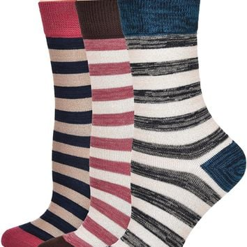 Flora&Fred Women's Vintage Cotton Crew Socks, 3 Pairs Pack
