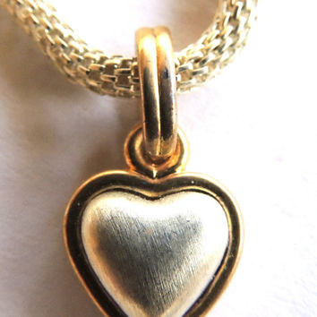Vintage Heart Necklace, Mesh Chain, Silver Gold, Vintage Necklace, Valentine Jewelry